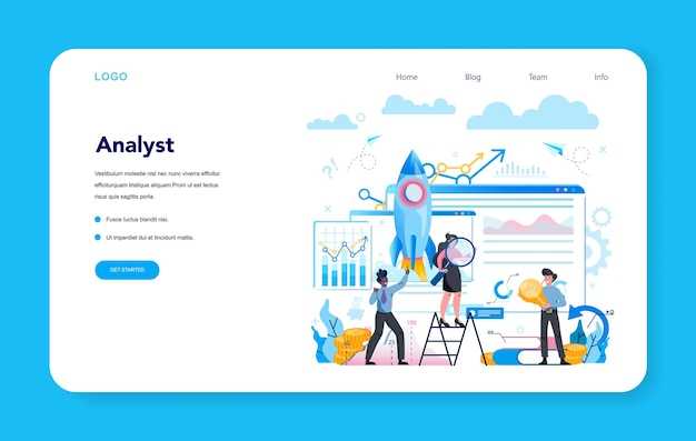 Business analyst web banner or landing page . business strategy