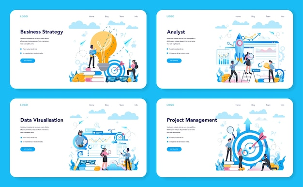 Business analyst web landing page set. business strategy