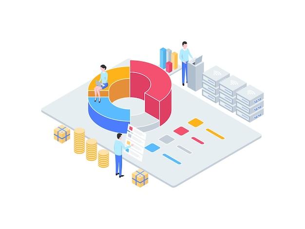 Бизнес-аналитическая изометрическая иллюстрация. подходит для мобильных приложений, веб-сайтов, баннеров, диаграмм, инфографики и других графических ресурсов.