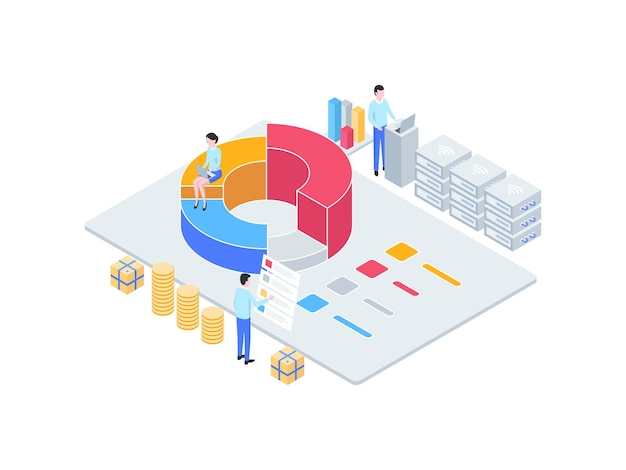 Business analytic isometric illustration. suitable for mobile app, website, banner, diagrams, infographics, and other graphic assets.