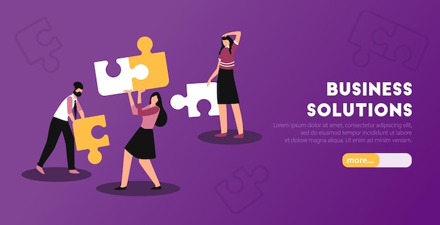 Business analytic solutions horizontal web banner with putting puzzle together peopleillustration