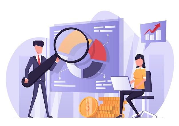 Бизнес-аналитика женщина занимается бизнес-аналитикой мужчина показывает презентацию