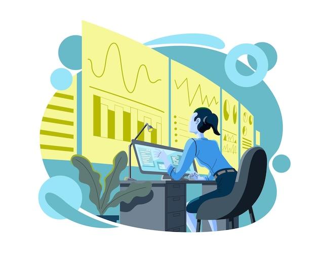 판매를 분석하는 비즈니스 분석. 화면의 디지털 마케팅 데이터