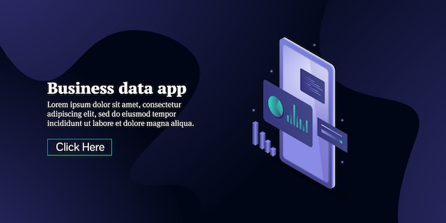 Business analytics app conceptual isometric banner