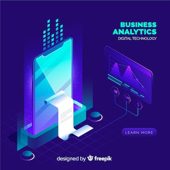 Business analytics background in isometric style