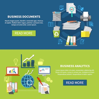 Business analytics banner set