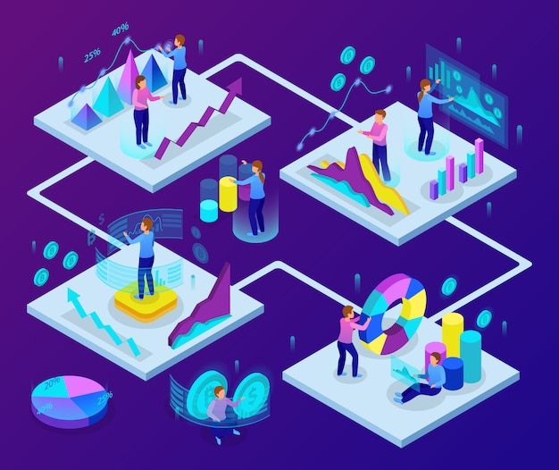 Business analytics concept glow isometric 4 colorful graphic presentations with profit growth diagrams currency symbols vector illustration