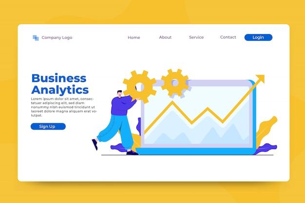 ビジネス分析の概念のランディングページテンプレート
