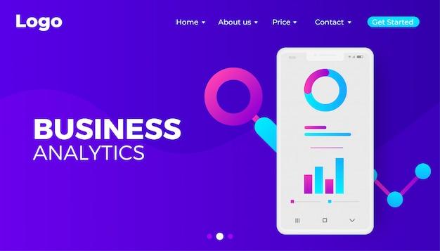 Business analytics digital web banner design