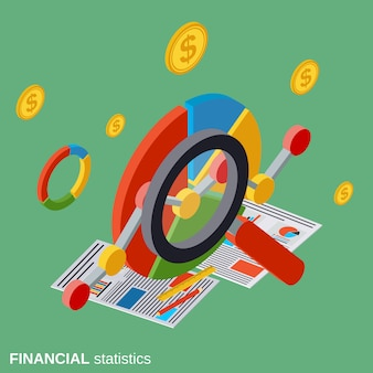 Business analytics, financial statistics vector concept illustration