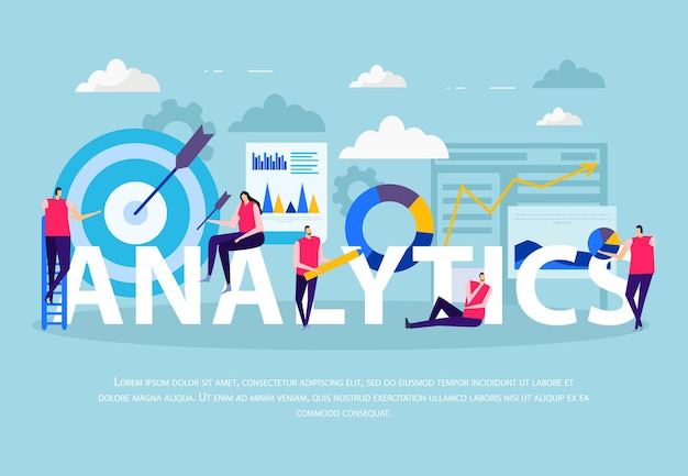 파란색 배경 벡터 일러스트 레이 션에 데이터 작업 인포 그래픽 요소 동안 비즈니스 분석 평면 구성 인간의 문자