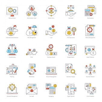 Business analytics flat icons pack