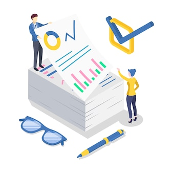 비즈니스 분석 아이소 메트릭 컬러 일러스트입니다. 회계 및 재무 감사. 데이터 분석 및 통계. 전략적 관리. 서류. 기업 전략. 흰색에 고립 된 3d 개념