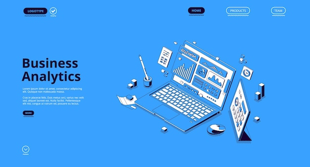 Business analytics isometric landing page.