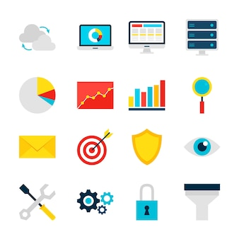Business analytics objects. big data set of items isolated over white.