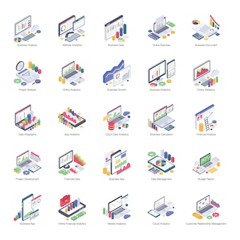 Business analytics pack of isometric icons