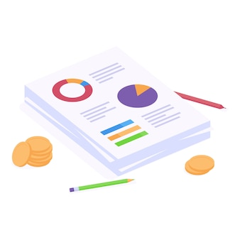 Business analytics report isometric vector illustration.