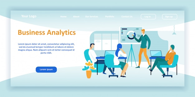 Business analytics service landing page template