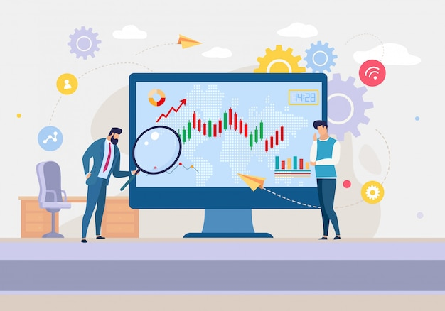 Business analytics team analyzing stock market