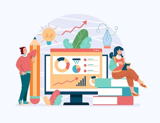 비즈니스 분석 팀워크 계획 프로젝트 개념, 만화 평면 그림