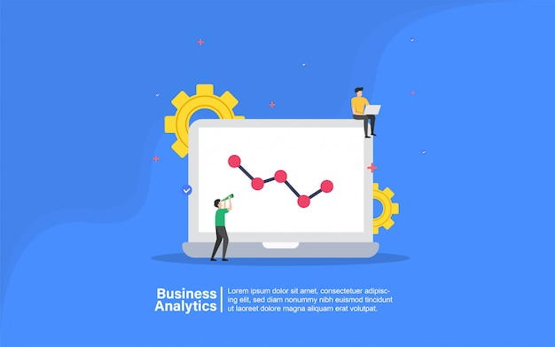 Business analytics with people character banner