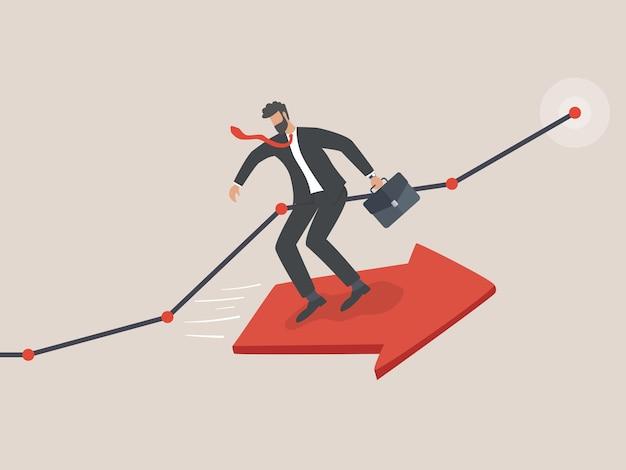 ビジネスとキャリア開発、起業家はビジネス目標を達成するために飛んでいる矢の上に立っています Premiumベクター