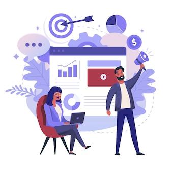 ビジネスとデータ分析の平らなイラスト。プロジェクト管理とプロジェクトレポートのカラーデザイン。ラップトップを持つ女性と拡声器のカラフルなメタファー、白い背景で隔離の男。