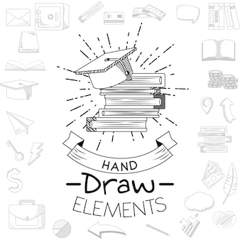 Business and education doodles hand draw
