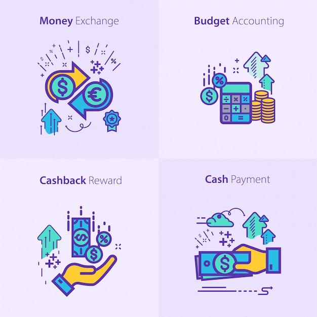 Бизнес и финансы значок набор концепции