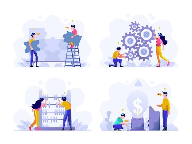 비즈니스 및 금융 그림 평면 그라데이션 디자인 스타일, 퍼즐, 문제 해결, 팀워크, 돈 관리 설정, 주판, 계산, 아이디어