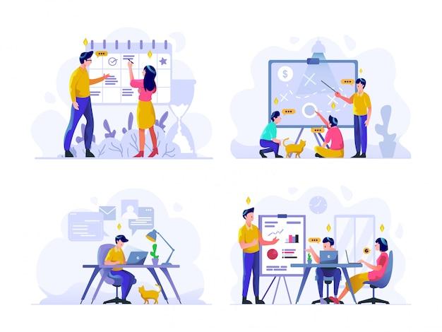 ビジネスと金融のイラストフラットグラデーションデザインスタイル、スケジュール、戦略的計画、オフィスでの作業、プレゼンテーション、ディスカッション
