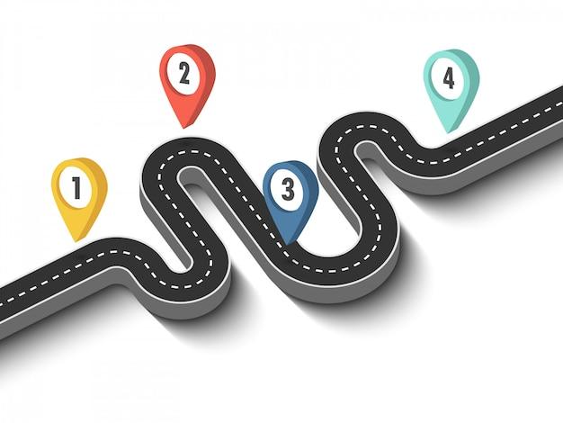 핀 포인터와 비즈니스 및 여행 infographic 템플릿입니다. 3d