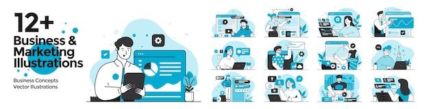 평면 디자인 스타일로 설정된 비즈니스 및 마케팅 삽화