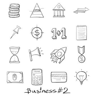 孤立した落書きスタイルで手描きのビジネスとマーケティングのセットアイコン。
