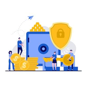 小さな性格を持つビジネスと安全な投資の概念。貯蓄をフラットに保護または確保する人々。貸金庫と現金袋のドル、銀行員の比喩。