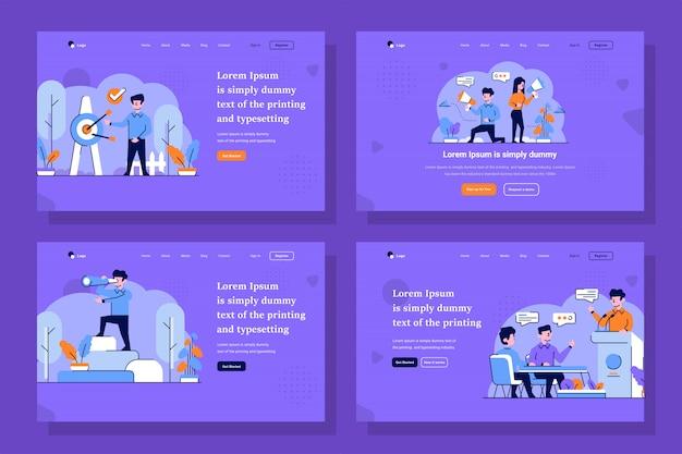 ビジネスとスタートアップのランディングページイラストフラットでアウトラインのデザインスタイル