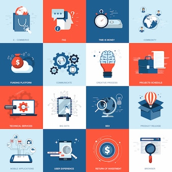 Business and technology icon set