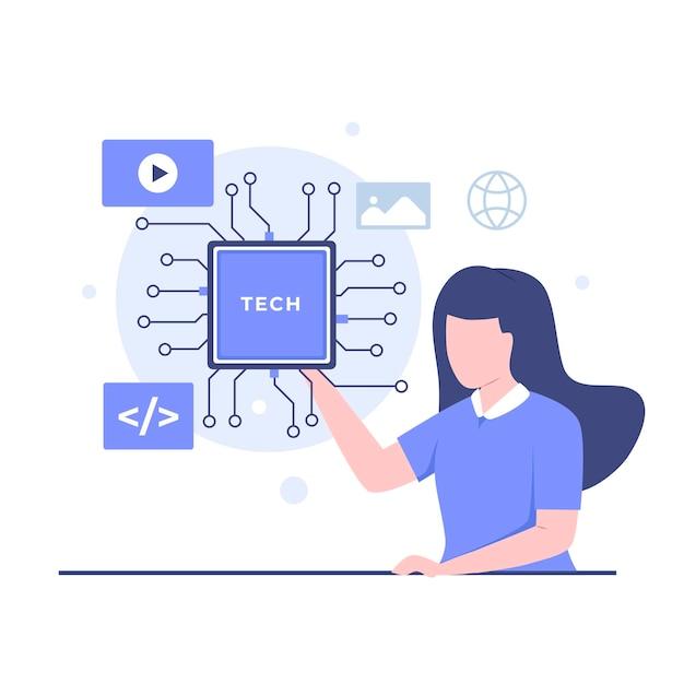 비즈니스 및 기술 일러스트레이션 디자인 컨셉입니다. 웹사이트, 방문 페이지, 모바일 애플리케이션, 포스터 및 배너용 일러스트레이션