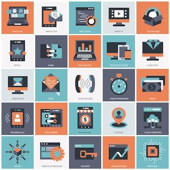 Бизнес и технологии набор иллюстрации