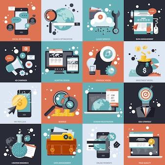 Набор векторных бизнес и технологий