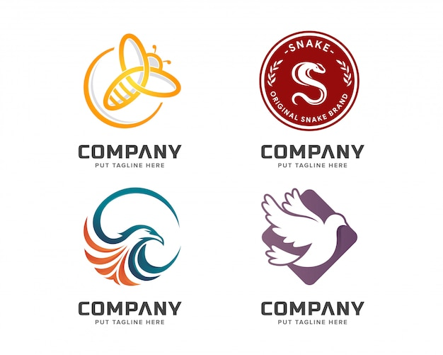Business animal colorful logo template set