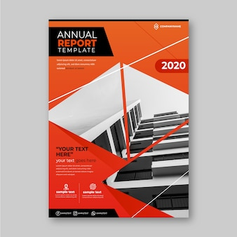 Business annual report template with photo design