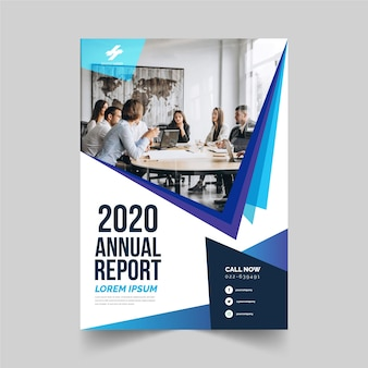 Business annual report template with photo style