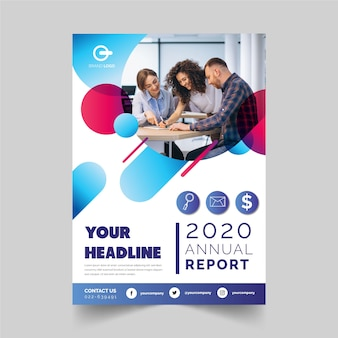 Business annual report template with photo theme