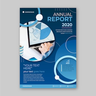 Business annual report template with photo