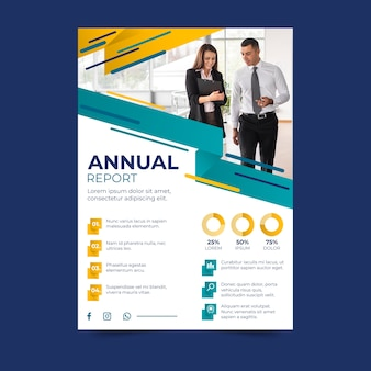 Business annual report with photo