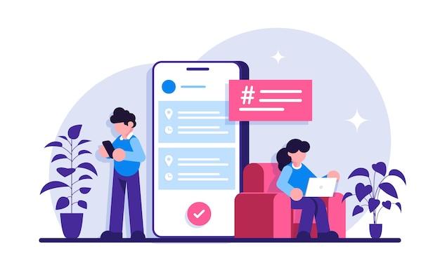 비즈니스 애플리케이션. 비즈니스 프로세스를 관리하는 모바일 앱입니다. 남자와 여자는 모바일 장치를 사용합니다.