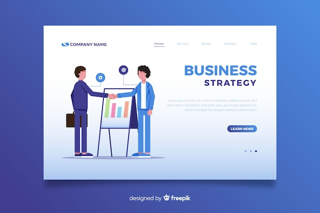 Business approach landing page in flat design