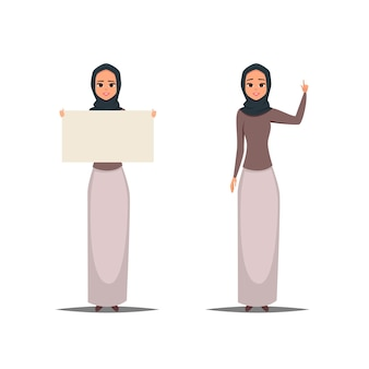 Business arab women with hijab pointing up and holding a blank Premium Vector