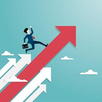 ビジネス矢印の概念。ビジネスマンは成功への矢の飛行に駆け寄ります。シンボルはマーケティングを達成します。ビジネスの成長チャートは、利益の売上と投資の増加を示しています。背景ベクトルフラット